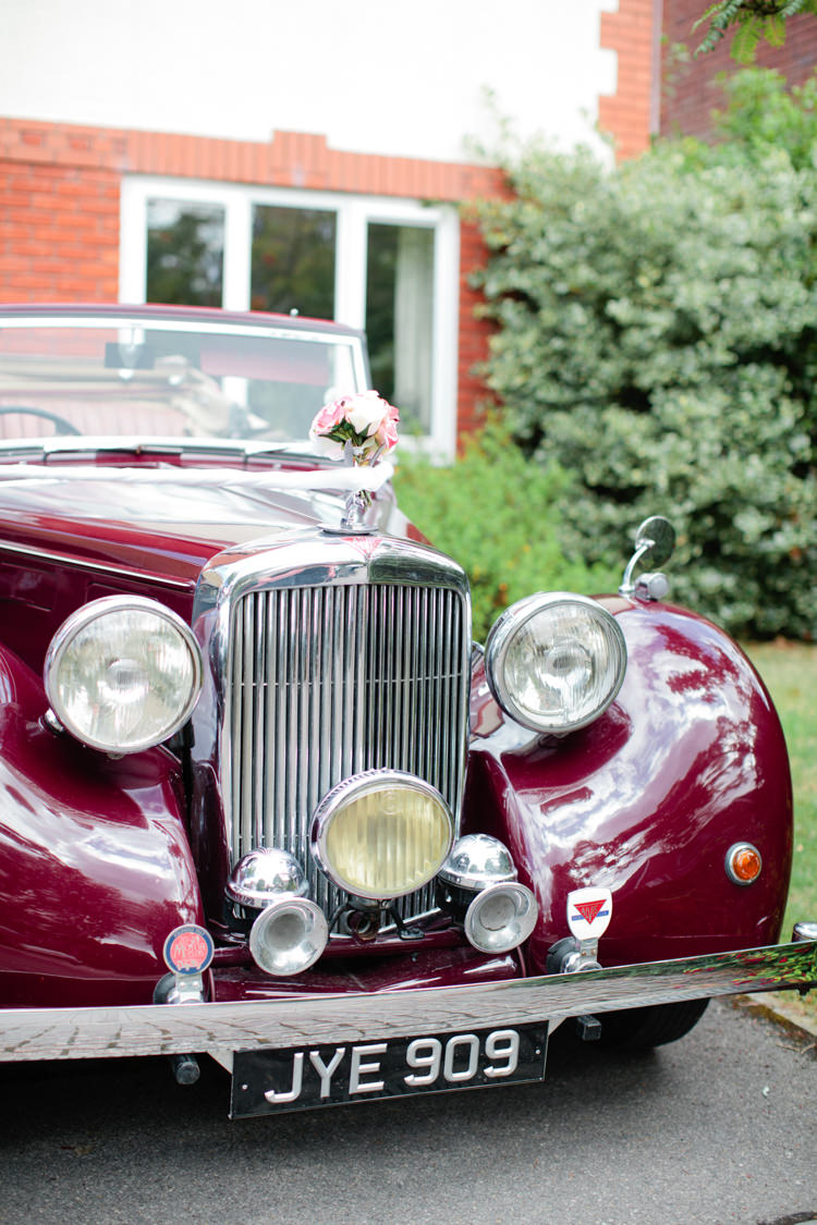Red Classic Car Tranport Pretty Pink Garden Party Wedding http://www.helencawtephotographyblog.com/