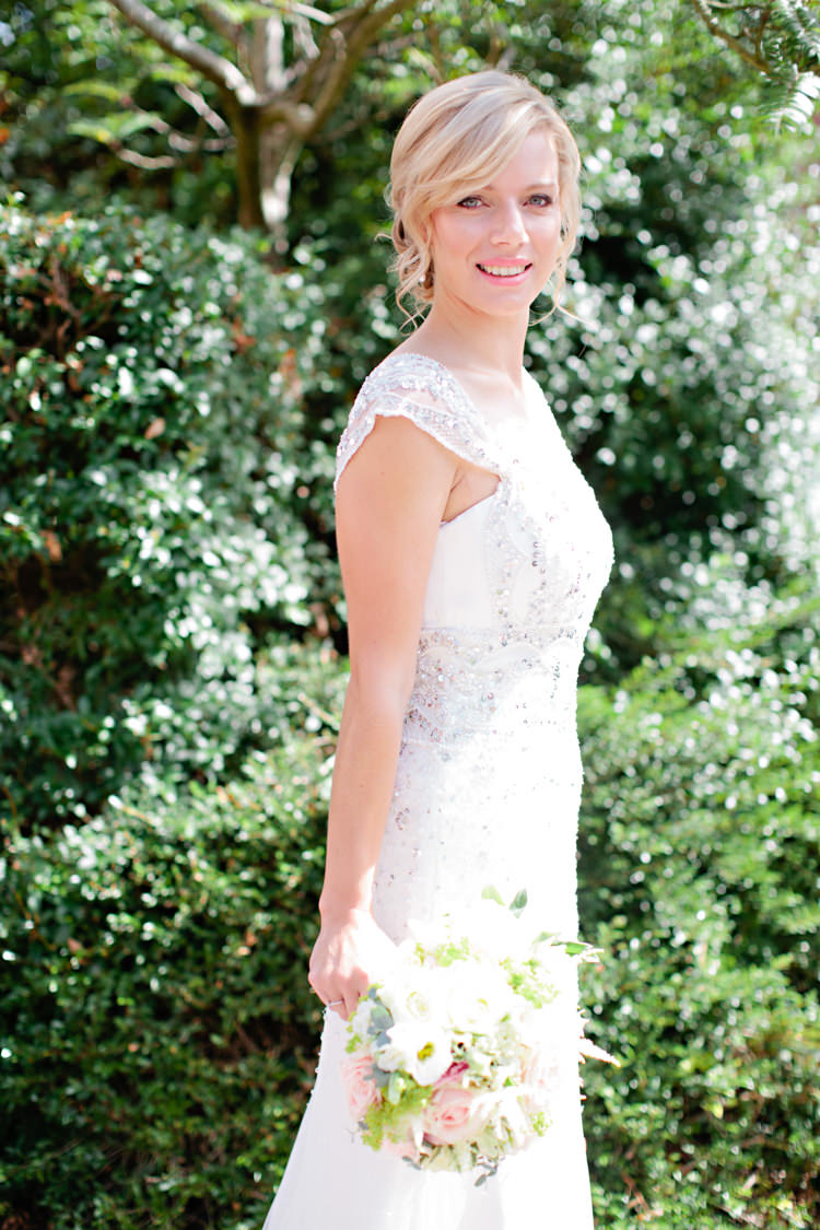 Suzanne Neville Stardust Dress Gown Bride Bridal Sequins Beading Pretty Pink Garden Party Wedding http://www.helencawtephotographyblog.com/