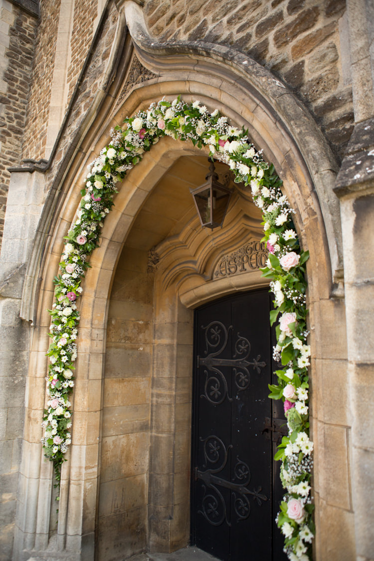 Arch Church Flowers Pretty Pink Garden Party Wedding http://www.helencawtephotographyblog.com/