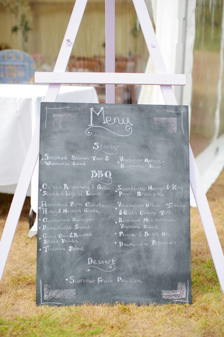 Chalk Black Board Menu Sign Pretty Pink Garden Party Wedding http://www.helencawtephotographyblog.com/