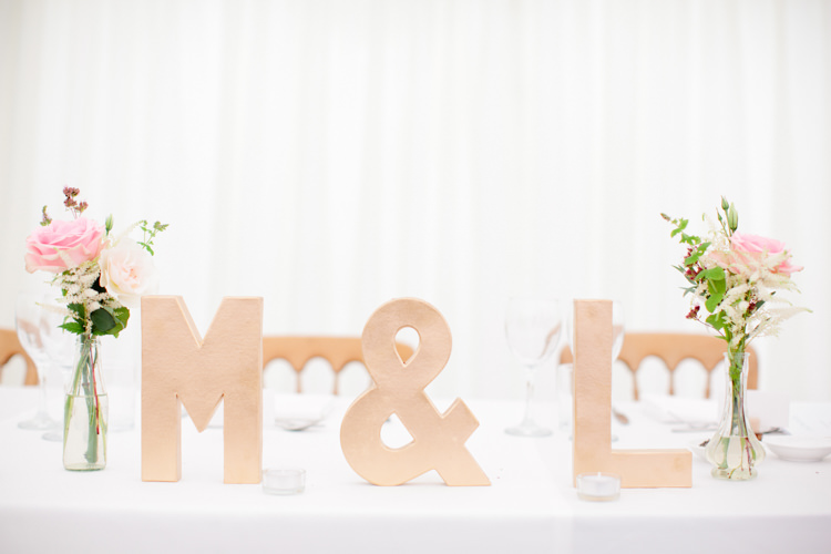 Kraft Brown Card Initials Letters Top Table Pretty Pink Garden Party Wedding http://www.helencawtephotographyblog.com/