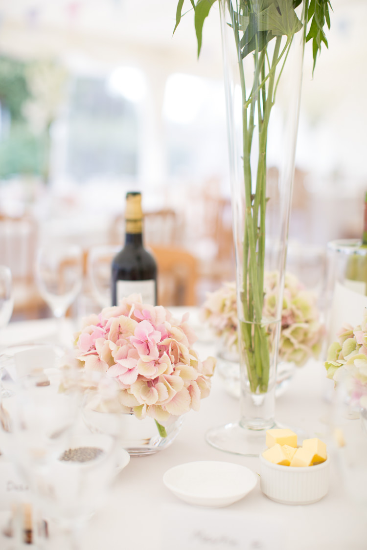 Hydrangea Flowers Centrepiece Decor Pretty Pink Garden Party Wedding http://www.helencawtephotographyblog.com/