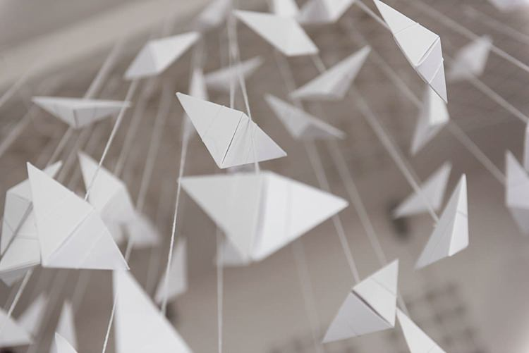 Paper Decor Hanging Modern Geometric Theatre Monochrome Wedding http://www.babbphoto.com/