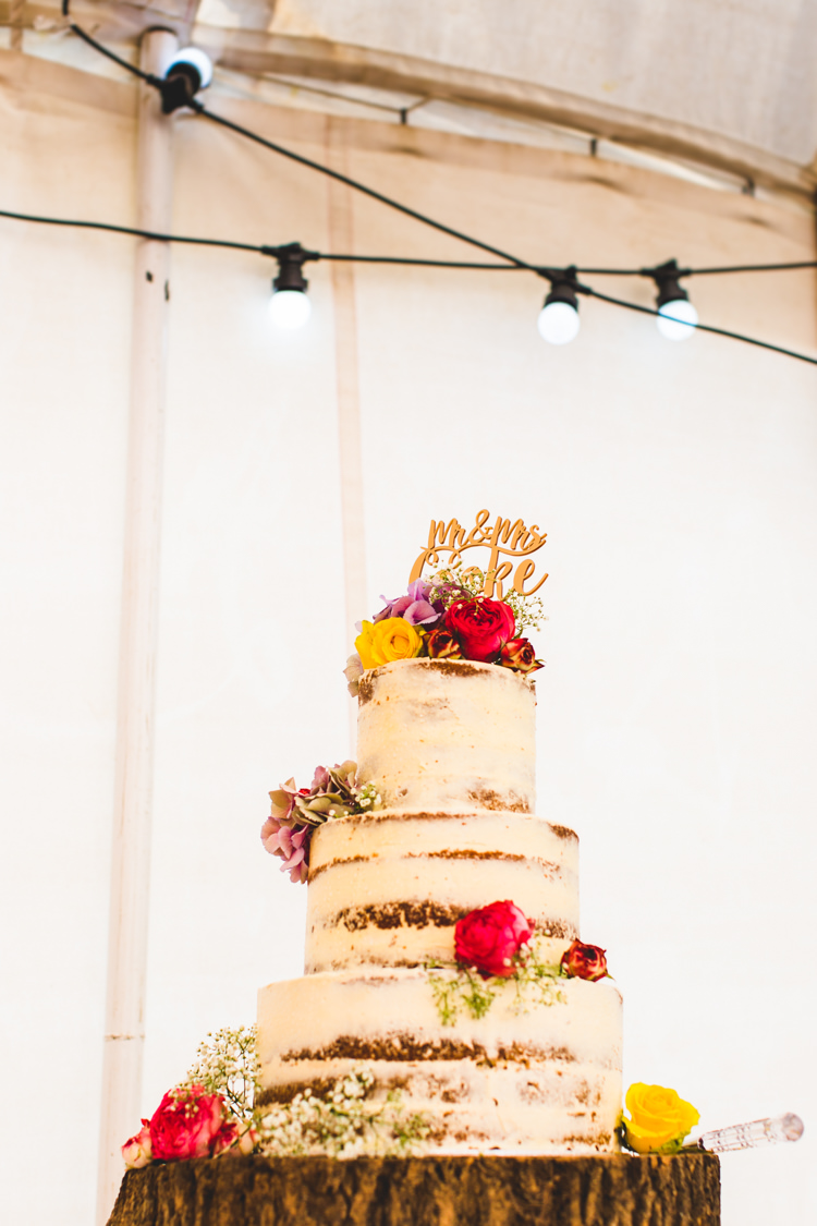 Naked Cake Buttercream Log Flowers Bright Colourful Fun Marquee Wedding http://www.livvy-hukins.co.uk/