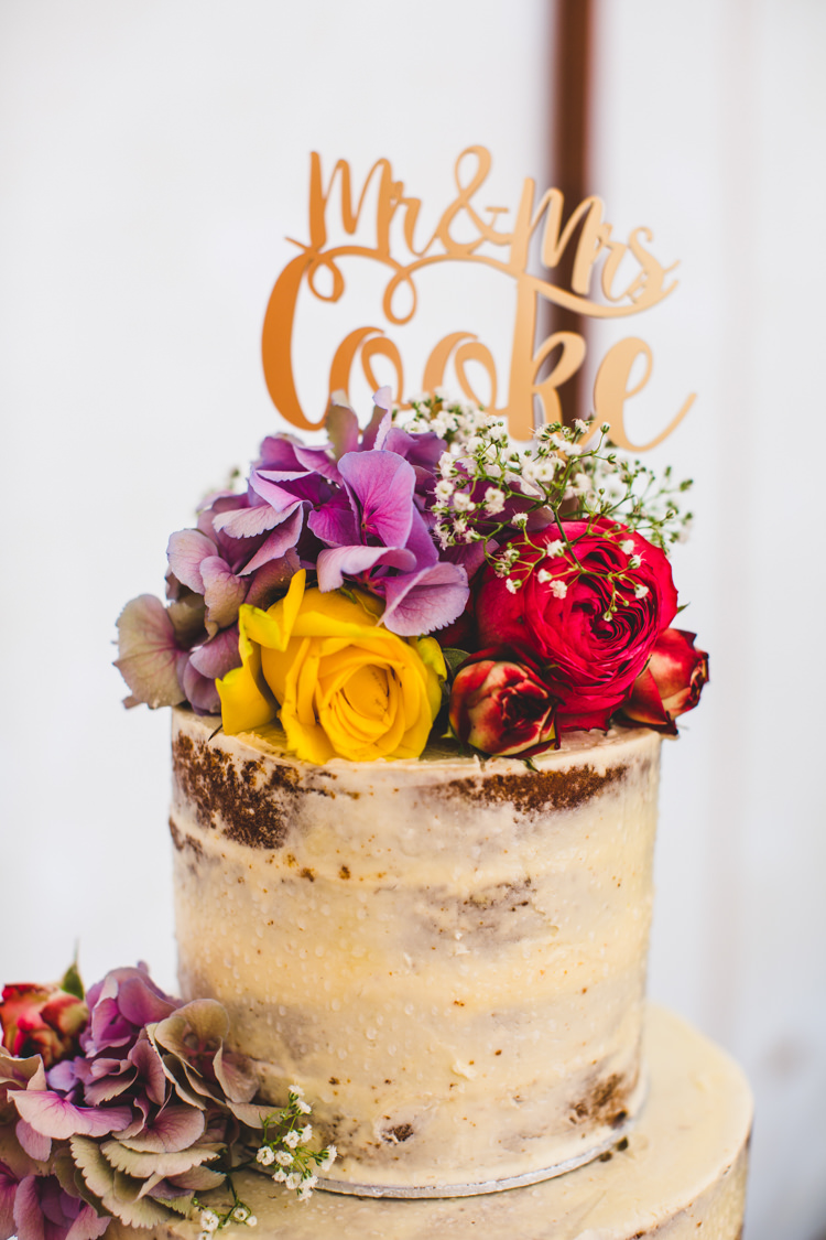 Naked Cake Topper Flowers Personalised Bright Colourful Fun Marquee Wedding http://www.livvy-hukins.co.uk/