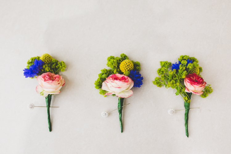 Buttonholes Rose Billy Ball Bright Colourful Fun Marquee Wedding http://www.livvy-hukins.co.uk/
