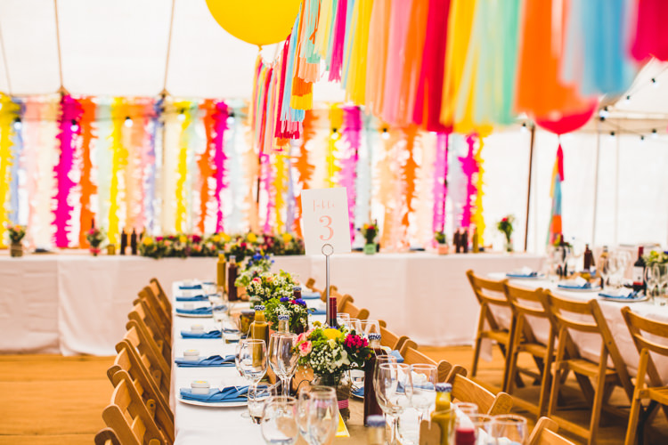 Tassels Balloons Backdrop Decor Rainbow Bright Colourful Fun Marquee Wedding http://www.livvy-hukins.co.uk/