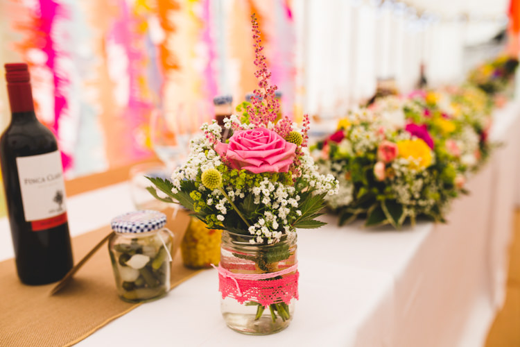 Lace Jar Flowers Summer Rose Bright Colourful Fun Marquee Wedding http://www.livvy-hukins.co.uk/