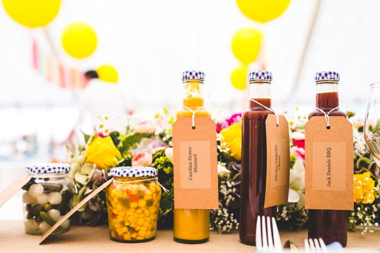 Condiments Pickles Bright Colourful Fun Marquee Wedding http://www.livvy-hukins.co.uk/