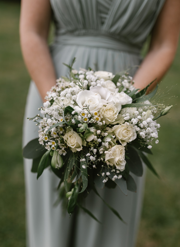 Bouquet Flowers Bridesmaid Greenery White Rose Gypsophila Wax Natural Sage Green Farm Wedding https://www.loveluella.co.uk/