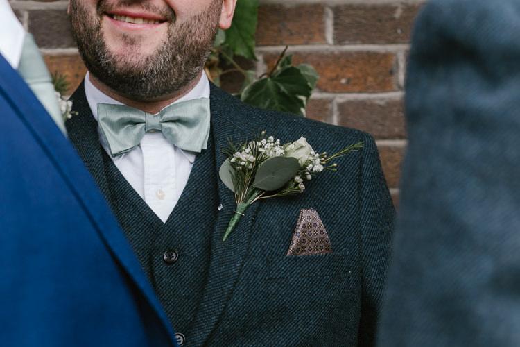 Buttonhole Groom Rose Natural Sage Green Farm Wedding https://www.loveluella.co.uk/