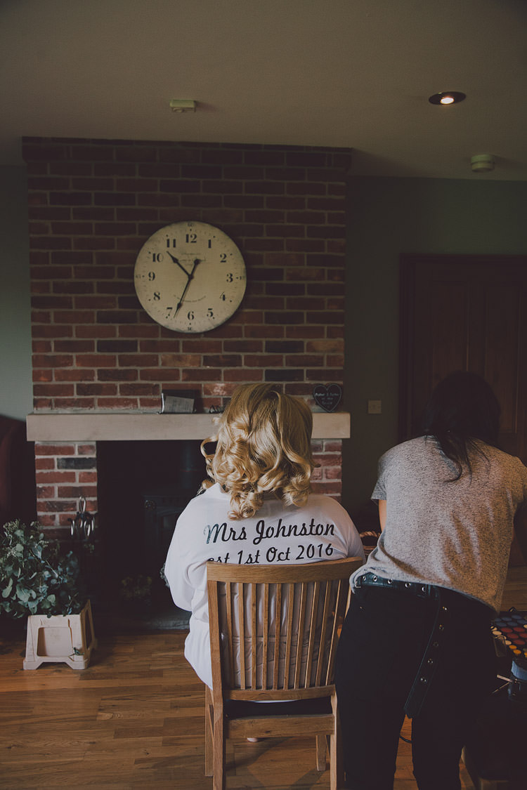 Personalised Dressing Gown Bride Bridal Chic Rustic Grey Barn Wedding http://www.kevelkinsphotography.co.uk/