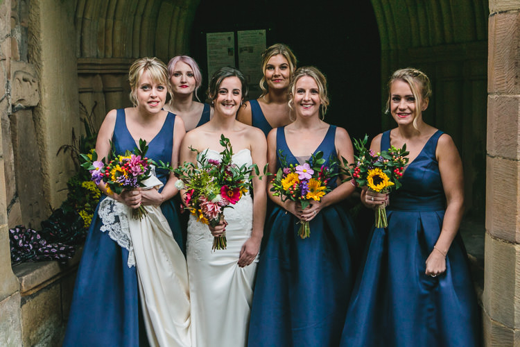 Bride Bridesmaids Colourful Bouquets Blue by Enzoani Chi Chi London Relaxed Cosy Stylish Autumnal Wedding http://www.tierneyphotography.co.uk/