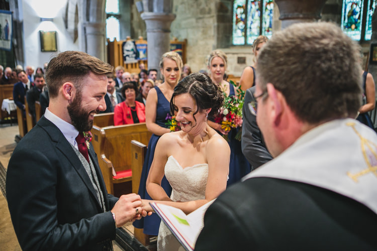 Church Blue by Enzoani Ted Baker Groom Harris Tweed Waistcoat Relaxed Cosy Stylish Autumnal Wedding http://www.tierneyphotography.co.uk/