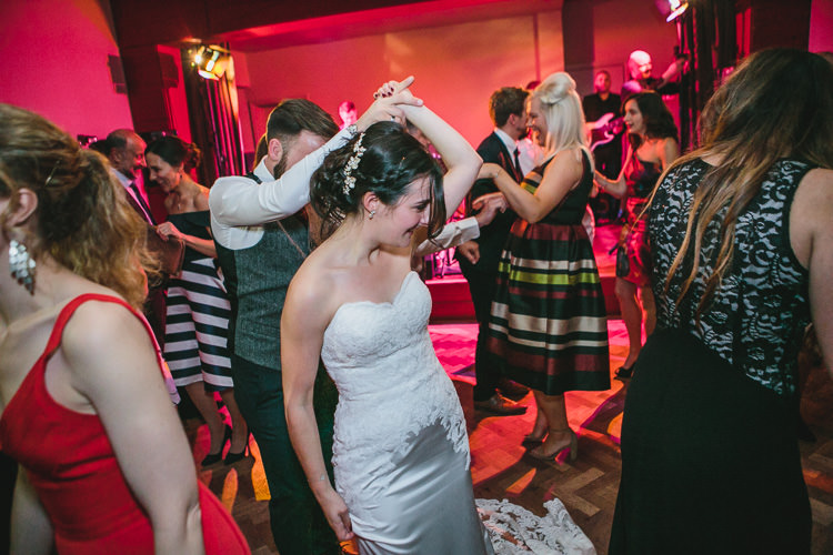 Dancefloor Blue by Enzoani Relaxed Cosy Stylish Autumnal Wedding http://www.tierneyphotography.co.uk/