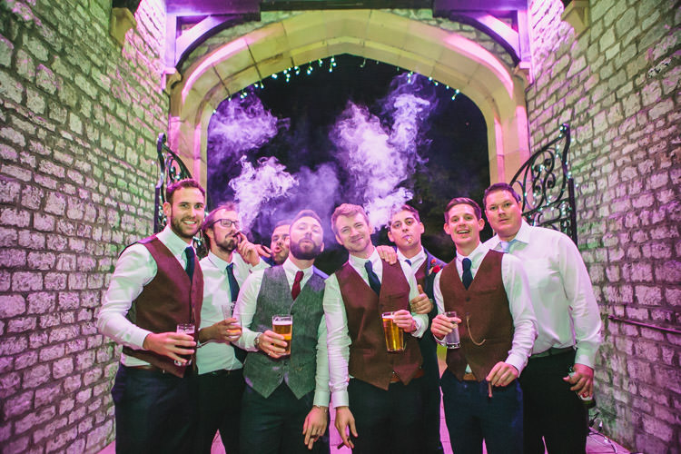 Harris Tweed Waistcoats Thornbridge Hall Relaxed Cosy Stylish Autumnal Wedding http://www.tierneyphotography.co.uk/