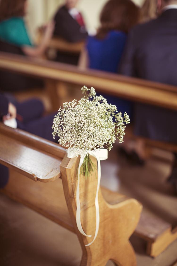 Gyp Gypsophila Pew End Flowers Church Aisle Elegant Romantic Classic Pink Wedding http://www.rebeccaweddingphotography.co.uk/