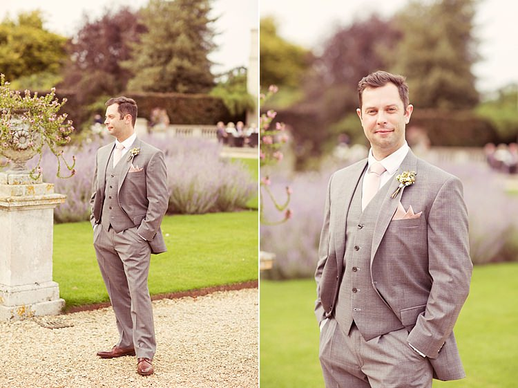 Pale Grey Suit Groom Elegant Romantic Classic Pink Wedding http://www.rebeccaweddingphotography.co.uk/
