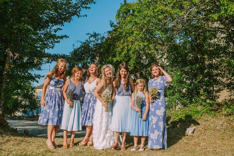 Blue Mismatched Print Bridesmaid Flower Girl Dresses Summertime French Village Destination Wedding http://www.pippacarvellphotography.com/