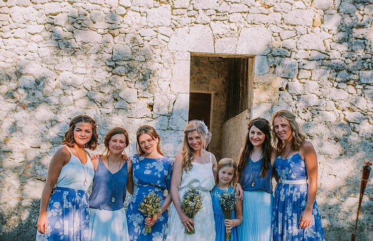 Blue Mismatched Print Bridesmaid Flower Girl Dresses Summertime French Village Destination Wedding http://www.pippacarvellphotography.com/