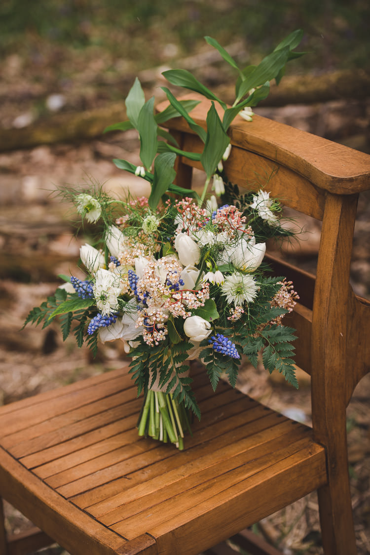 Bouquet Flowers Bride Bridal Tulip White Blue Greenery Fern Magical Spring Bluebell Woodland Wedding Ideas http://helinebekker.co.uk/