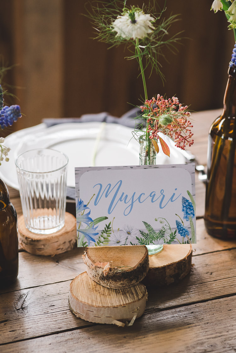 Floral Table Name Stationery Magical Spring Bluebell Woodland Wedding Ideas http://helinebekker.co.uk/