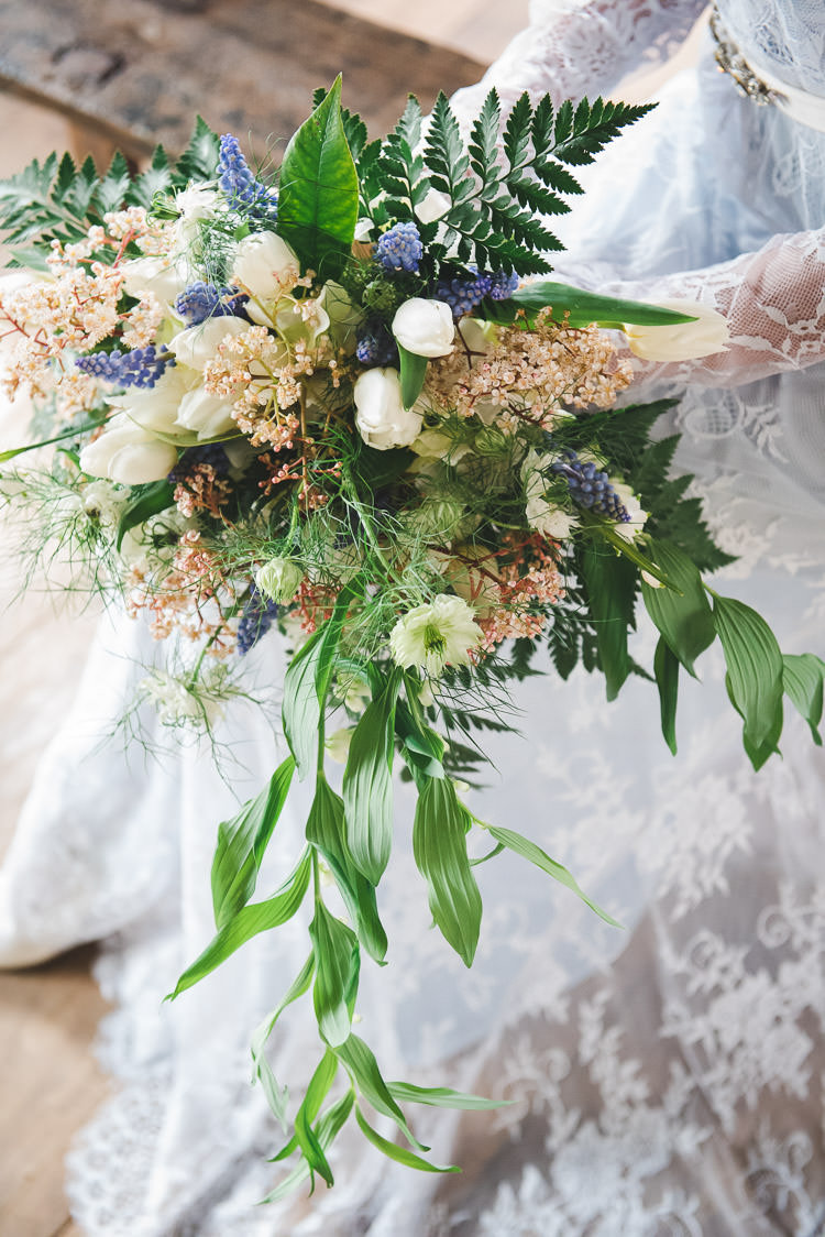 Bouquet Flowers Bride Bridal Tulip Fern Greenery Magical Spring Bluebell Woodland Wedding Ideas http://helinebekker.co.uk/
