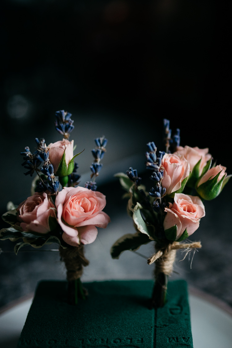 Pink Rose Lavender Twine Buttonholes Rustic Woodland Modern Wedding http://www.jennymacare.com/
