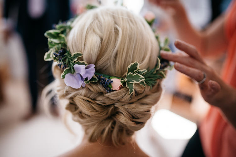 Flower Crown Hair Style Bride Bridal Rustic Woodland Modern Wedding http://www.jennymacare.com/
