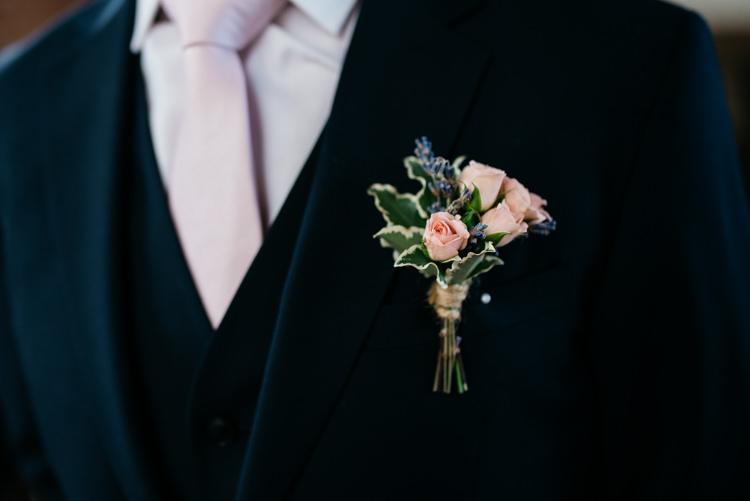 Pink Rose Buttonhole Groom Rustic Woodland Modern Wedding http://www.jennymacare.com/