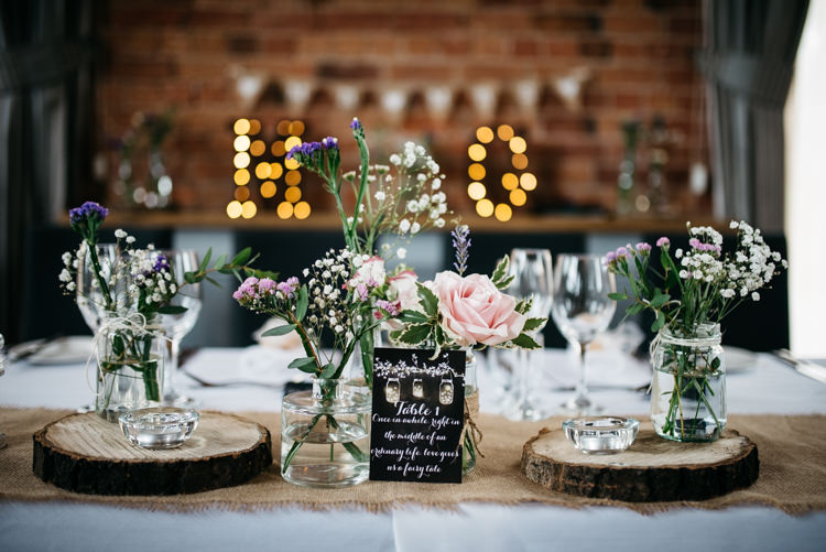 Flowers Jars Lace Hessian Decor Burlap Table Centrepiece Rustic Woodland Modern Wedding http://www.jennymacare.com/