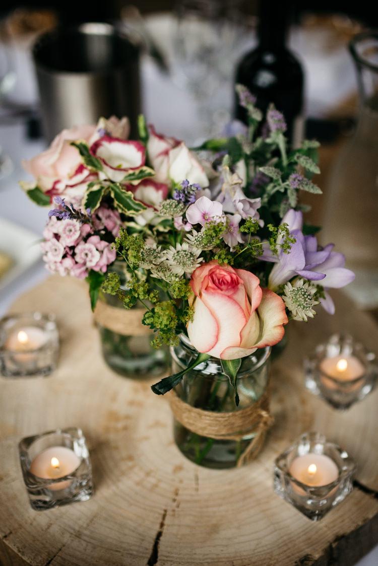 Jar Flowers Twine Log Candles Summer Rustic Woodland Modern Wedding http://www.jennymacare.com/