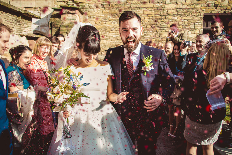 Gieves & Hawkes Groom Tea-length Bride Confetti Quirky Springtime Easter Wedding https://www.katejacksonphotography.co.uk/