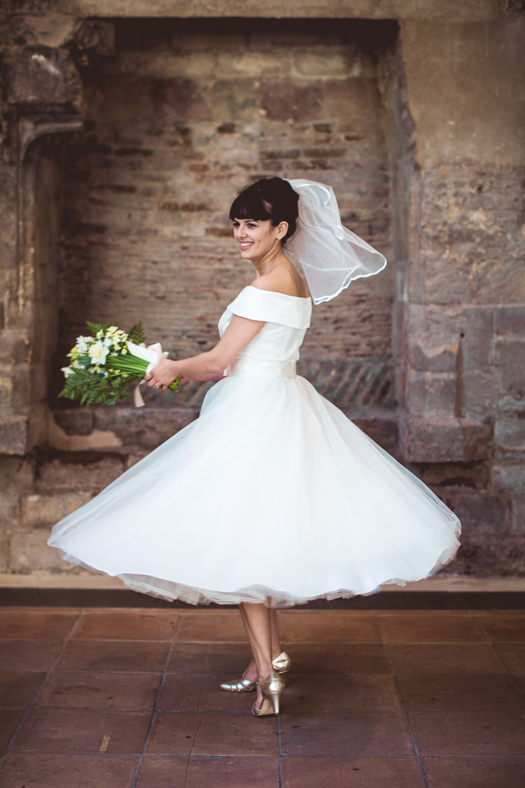 Tea-length Bride Shoulder Veil Rachel Simpson Quirky Springtime Easter Wedding https://www.katejacksonphotography.co.uk/