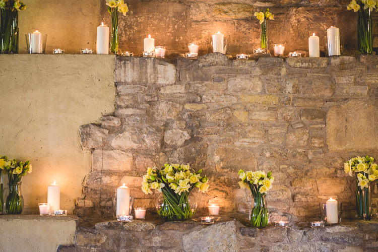 Ceremony Daffodils Candlelit Quirky Springtime Easter Wedding https://www.katejacksonphotography.co.uk/