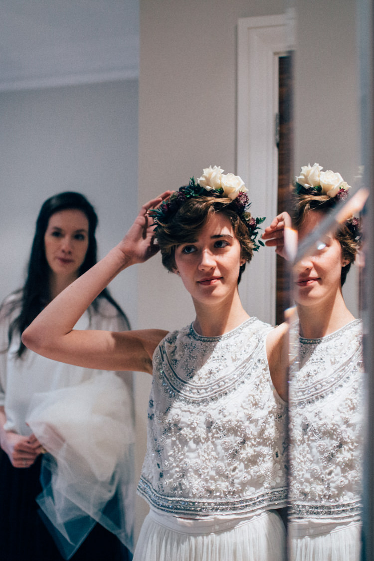 Flower Crown Needle & Thread Heartwarming Festive Winter Wedding http://www.nikkivandermolen.com/