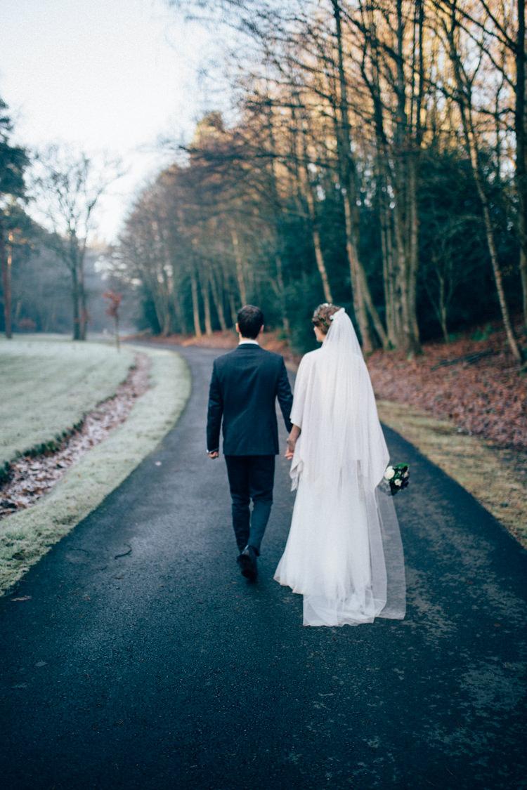 Needle & Thread Separates Bridal Veil DKNY Suit Heartwarming Festive Winter Wedding http://www.nikkivandermolen.com/
