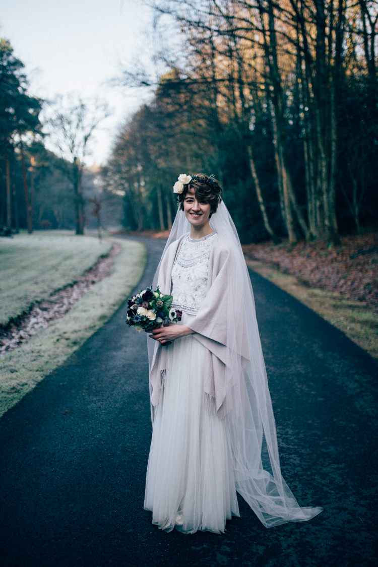 Needle & Thread Separates Flower Crown Bridal Veil Heartwarming Festive Winter Wedding http://www.nikkivandermolen.com/