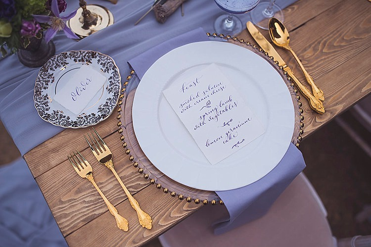Gold Cutlery Place Setting Calligraphy Menu Violet Spring Luxe Wedding Ideas http://www.katieingram.co.uk/