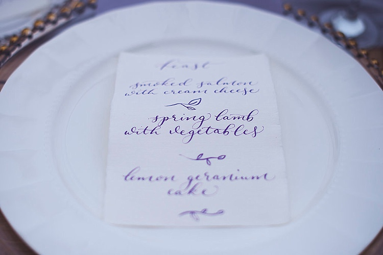 Calligraphy Menu Violet Spring Luxe Wedding Ideas http://www.katieingram.co.uk/