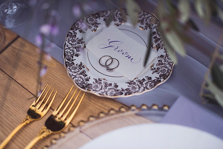 Calligraphy Place Name Setting Violet Spring Luxe Wedding Ideas http://www.katieingram.co.uk/