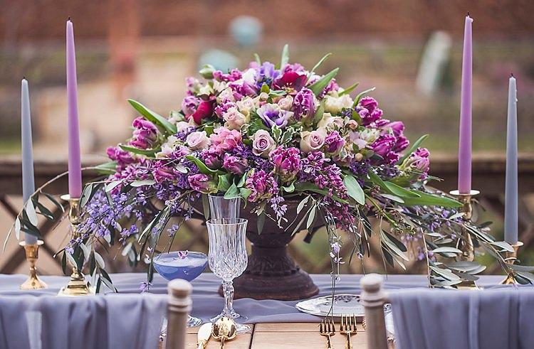 Flowers Arrangement Table Centrepiece Decor Tablescape Purple Lilac Violet Spring Luxe Wedding Ideas http://www.katieingram.co.uk/
