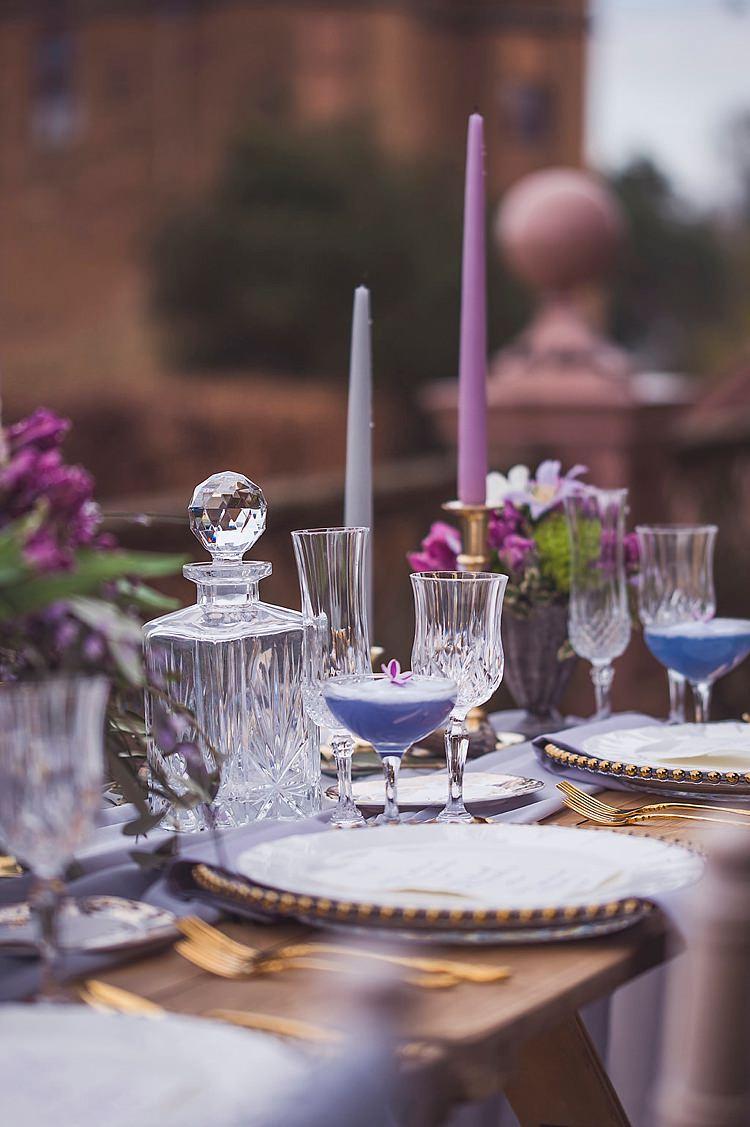 Flowers Arrangement Table Centrepiece Decor Tablescape Purple Lilac Cocktails Violet Spring Luxe Wedding Ideas http://www.katieingram.co.uk/