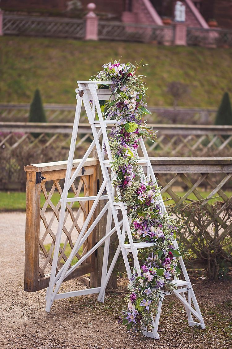 Ladder Decor Flowers Purple Lilac White Violet Spring Luxe Wedding Ideas http://www.katieingram.co.uk/