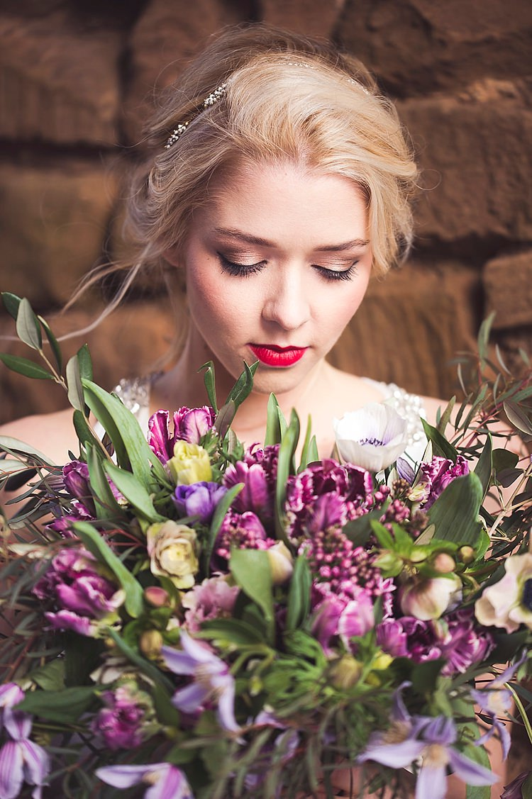 Bride Bridal Make Up Red Lips Violet Spring Luxe Wedding Ideas http://www.katieingram.co.uk/