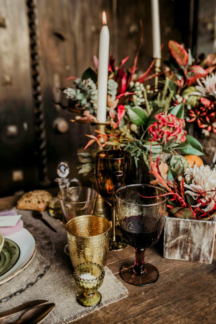 Reception Table Setting Rustic Theme Seasonal Flowers Pumpkins Candlesticks Gold Glass From Dawn To Eternity Autumnal Wedding Ideas http://www.nataliaibarra.com