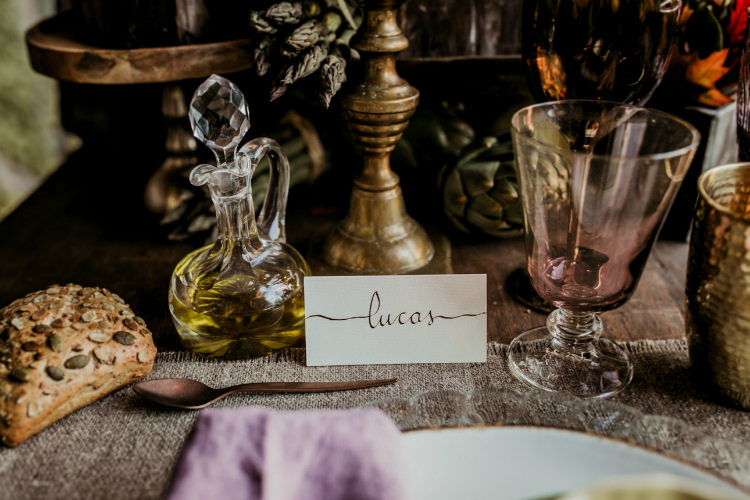 Reception Table Setting Rustic Theme Calligraphy Name Tag Gold Candlestick From Dawn To Eternity Autumnal Wedding Ideas http://www.nataliaibarra.com