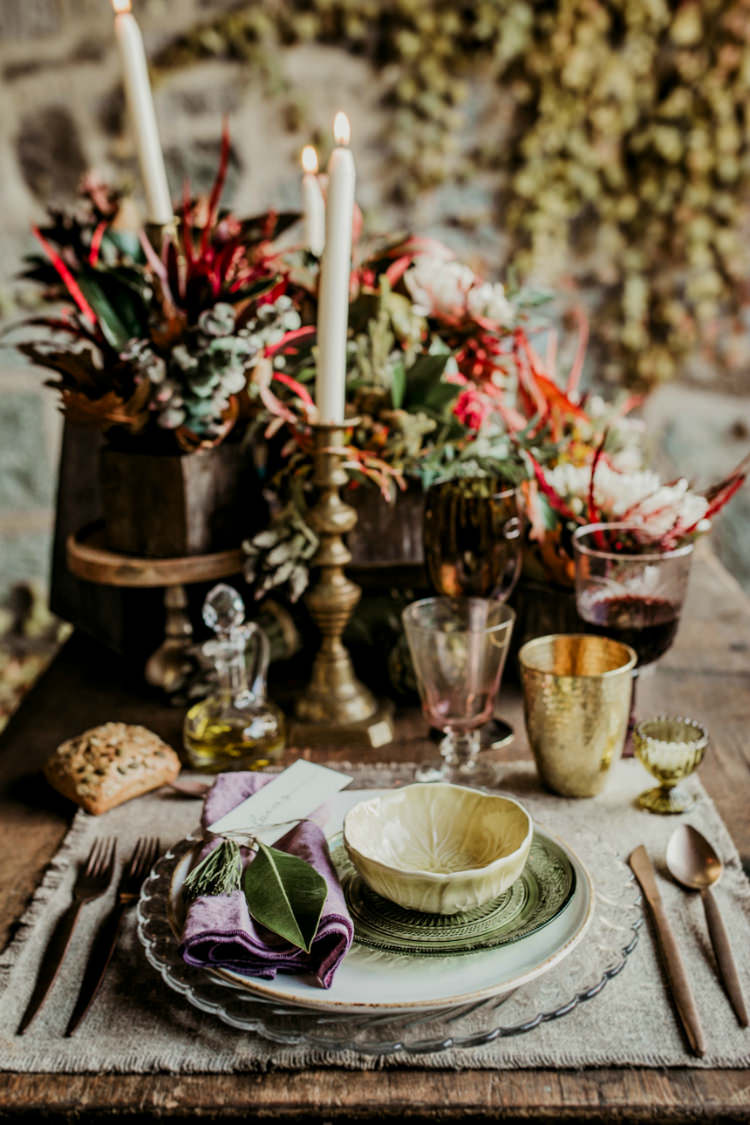 Reception Table Setting Rustic Theme Seasonal Flowers Gold Candlesticks Mismatched Vintage China From Dawn To Eternity Autumnal Wedding Ideas http://www.nataliaibarra.com