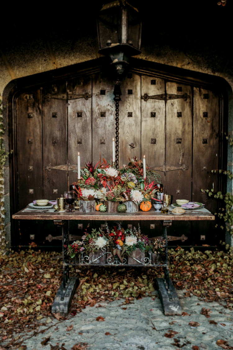 Reception Table Setting Fresh Flowers Seasonal Colours Vegetables Pumpkins Candlesticks Rustic Setting Vintage Wooden Table From Dawn To Eternity Autumnal Wedding Ideas http://www.nataliaibarra.com