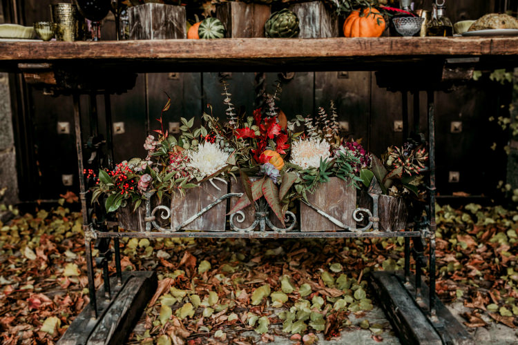Reception Wooden Vintage Table Fresh Florals Pumpkins Leaves From Dawn To Eternity Autumnal Wedding Ideas http://www.nataliaibarra.com
